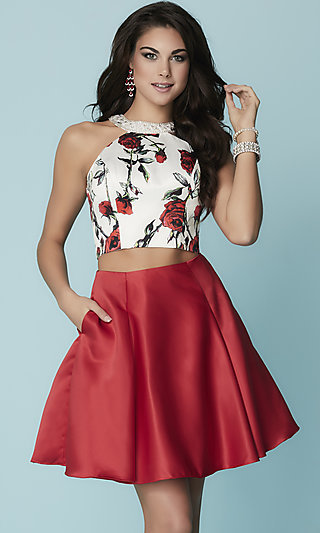 Short Two-Piece Print Hannah S Pleated Open Back Homecoming Dress