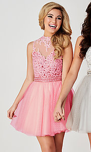 Image of short open-back ice pink Hannah S homecoming dress. Style: HS-27095 Front Image