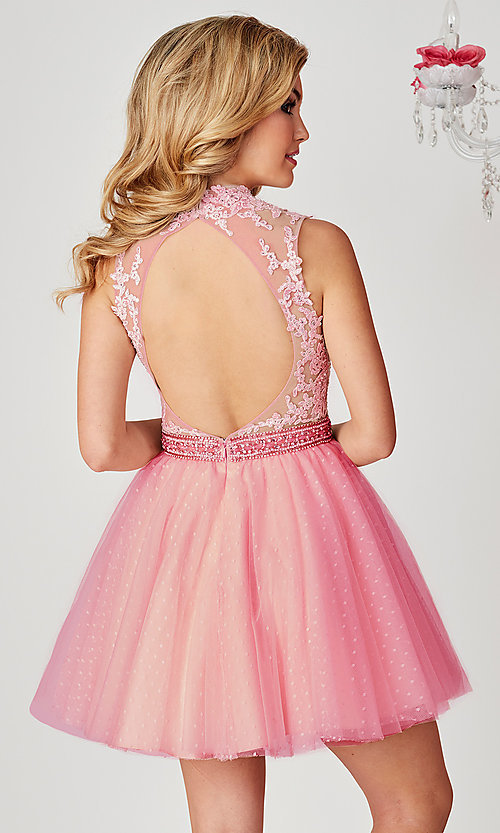 Image of short open-back ice pink Hannah S homecoming dress. Style: HS-27095 Back Image