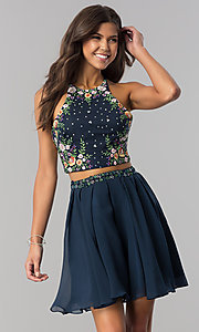 Image of short two-piece homecoming dress with embroidery. Style: HS-27111 Detail Image 2