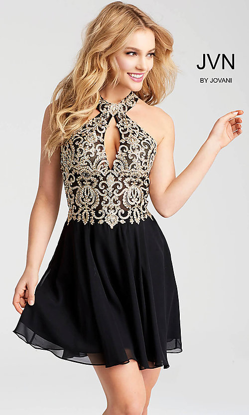 Image of short homecoming dress with sheer cut-out bodice. Style: JO-JVN-JVN53177 Detail Image 1