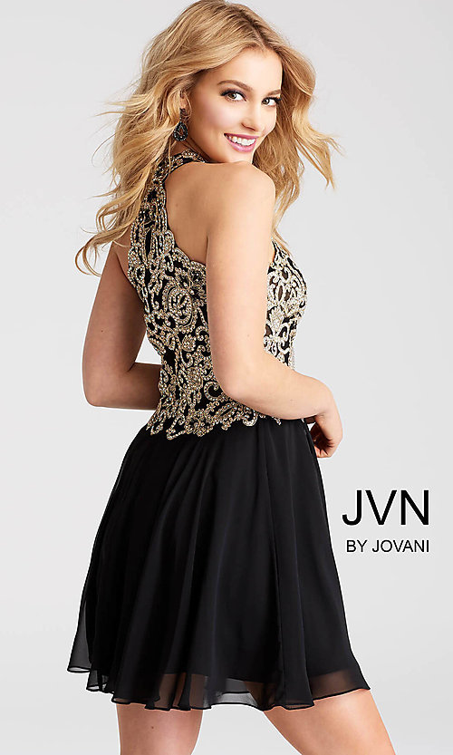 Image of short homecoming dress with sheer cut-out bodice. Style: JO-JVN-JVN53177 Back Image