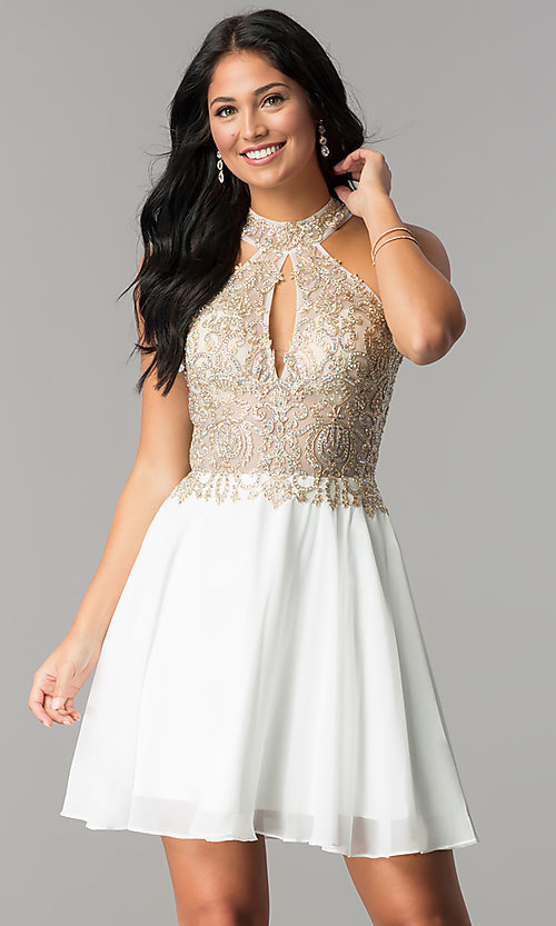 Image of short homecoming dress with sheer cut-out bodice. Style: JO-JVN-JVN53177 Detail Image 2