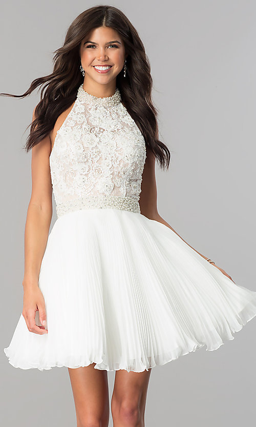 Image of lace-applique halter pleated homecoming dress. Style: JO-JVN-JVN53030 Front Image
