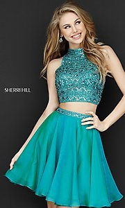 Image of two-piece short Sherri Hill beaded homecoming dress. Style: SH-51296 Front Image