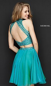 Image of two-piece short Sherri Hill beaded homecoming dress. Style: SH-51296 Back Image