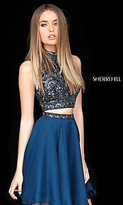 Image of two-piece short Sherri Hill beaded homecoming dress. Style: SH-51296 Detail Image 2