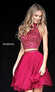 Image of two-piece short Sherri Hill beaded homecoming dress. Style: SH-51296 Detail Image 1