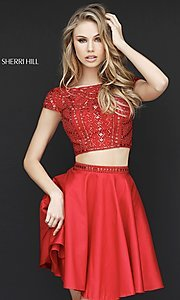 Image of two-piece short red homecoming dress by Sherri Hill. Style: SH-51300 Front Image