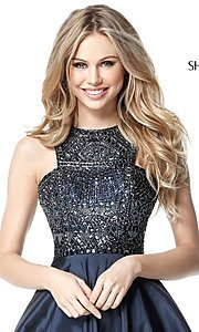 Image of Sherri Hill fit-and-flare high-neck homecoming dress. Style: SH-51302 Detail Image 1