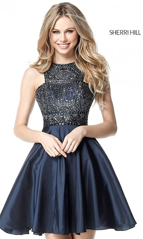 Image of Sherri Hill fit-and-flare high-neck homecoming dress. Style: SH-51302 Front Image