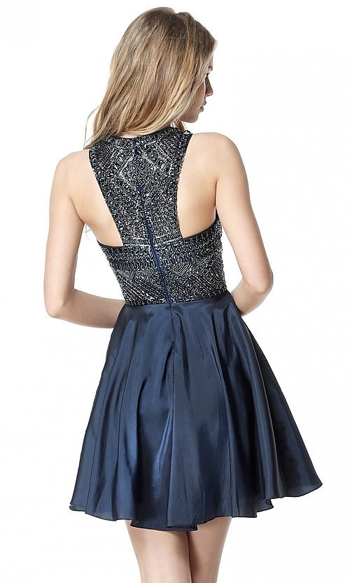 Image of Sherri Hill fit-and-flare high-neck homecoming dress. Style: SH-51302 Back Image