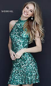 Image of short sequin Sherri Hill homecoming dress. Style: SH-51346 Detail Image 1