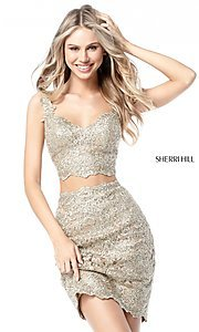 Image of Sherri Hill short metallic-lace homecoming dress. Style: SH-51522 Front Image