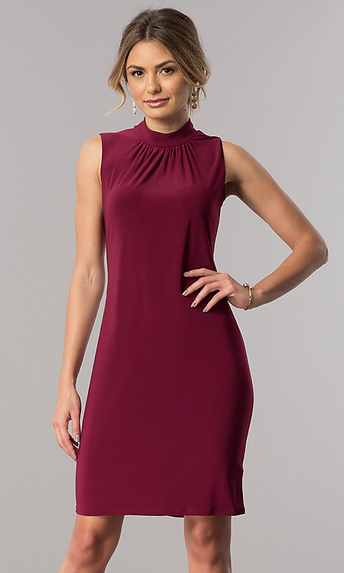 High Ruched Neck Shift Semi-Casual Dress