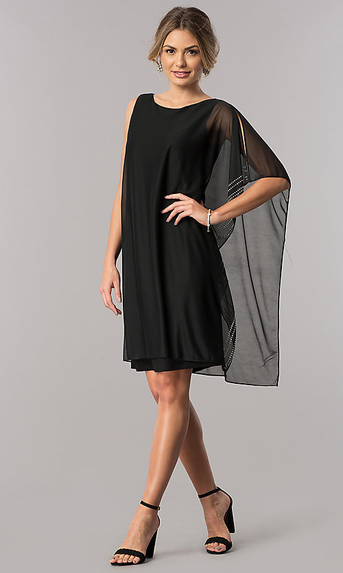 Image of short shift mother-of-the-bride dress with cape. Style: JU-ON-649562i Detail Image 1