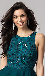 Image of short open-back homecoming dress with embroidery. Style: DMO-J318307 Detail Image 1