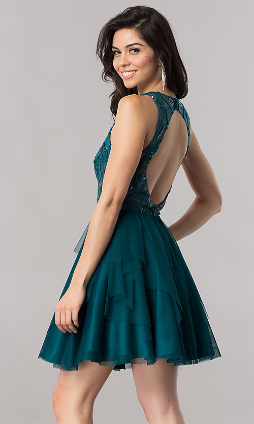 Image of short open-back homecoming dress with embroidery. Style: DMO-J318307 Back Image