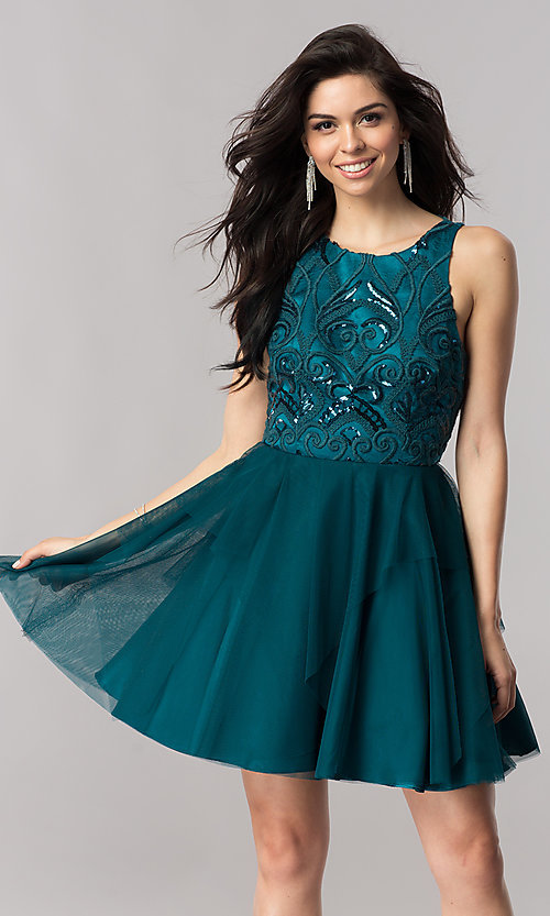 Image of short open-back homecoming dress with embroidery. Style: DMO-J318307 Front Image