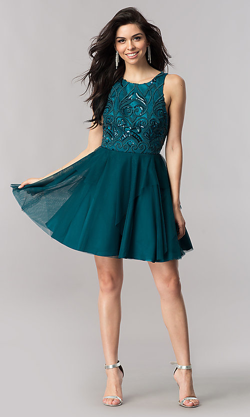Image of short open-back homecoming dress with embroidery. Style: DMO-J318307 Detail Image 2