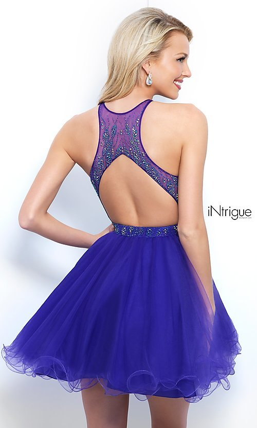 Image of violet purple high-neck short homecoming dress. Style: BL-IN-351 Back Image