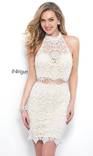 High-Neck Short Lace Dress with T-Back