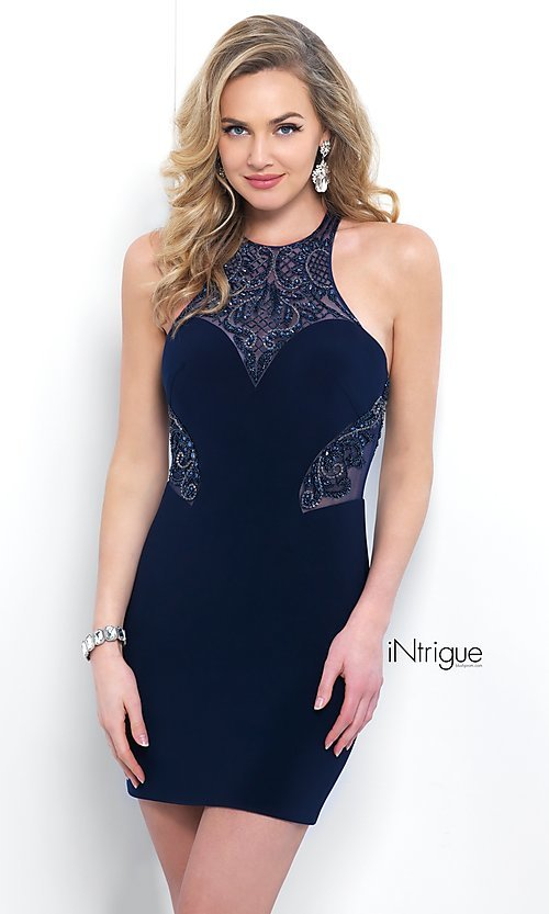 Navy Blue Homecoming Dress with Beading
