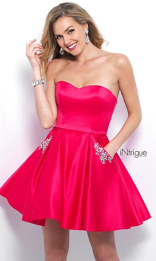 Image of fit-and-flare short homecoming dress with pockets. Style: BL-IN-363 Front Image