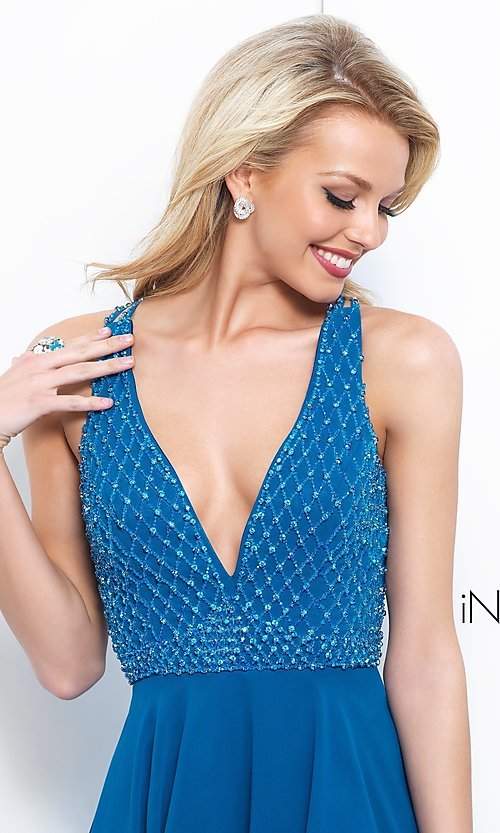 Image of Intrigue by Blush v-neck chiffon homecoming dress. Style: BL-IN-366 Detail Image 1