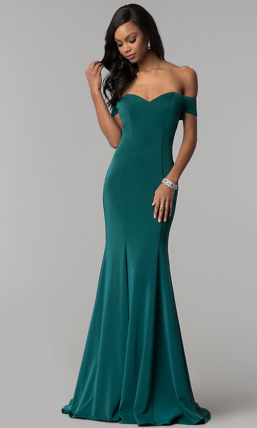 Image of off-the-shoulder long formal dress with open back. Style: CD-1768 Front Image