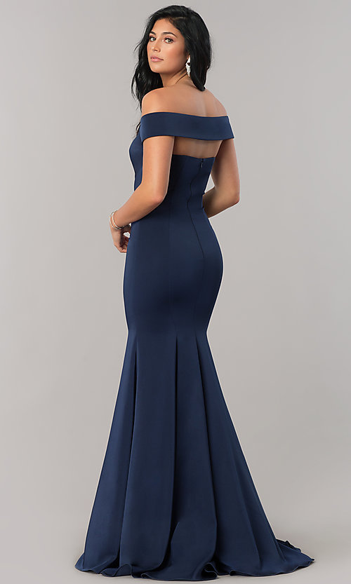 Image of off-the-shoulder long formal dress with open back. Style: CD-1768 Back Image