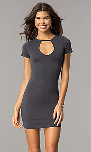 Image of short open-back casual party dress with sleeves. Style: BLU-BD8464 Detail Image 3