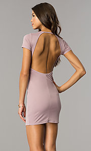 Image of short open-back casual party dress with sleeves. Style: BLU-BD8464 Back Image