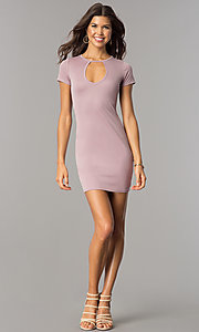 Image of short open-back casual party dress with sleeves. Style: BLU-BD8464 Detail Image 1