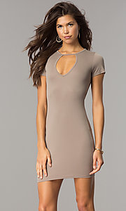 Image of short open-back casual party dress with sleeves. Style: BLU-BD8464 Detail Image 2