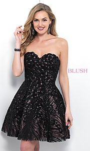 Image of Blush strapless short black sequin homecoming dress. Style: BL-11366 Front Image