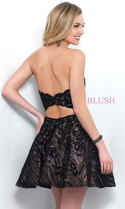 Image of Blush strapless short black sequin homecoming dress. Style: BL-11366 Back Image
