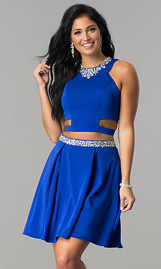 Two-Piece Short Homecoming Dress with Pockets