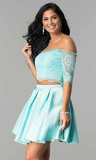 Off-the-Shoulder Mint Two-Piece Homecoming Dress