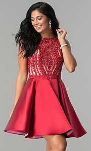 Image of short homecoming dress with fit-and-flare skirt. Style: LN-SP-E772 Front Image