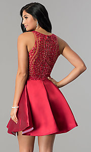 Image of short homecoming dress with fit-and-flare skirt. Style: LN-SP-E772 Back Image