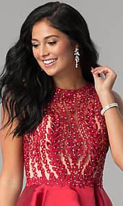 Image of short homecoming dress with fit-and-flare skirt. Style: LN-SP-E772 Detail Image 2