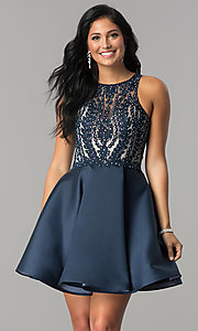 Image of short homecoming dress with fit-and-flare skirt. Style: LN-SP-E772 Detail Image 3