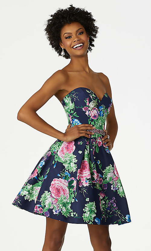 Mori Lee Print Strapless Homecoming Dress