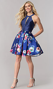 Image of racerback navy blue homecoming dress with print skirt. Style: TE-2292 Detail Image 1