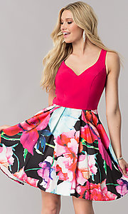 Image of v-neck homecoming dress with floral-print skirt. Style: TE-2352 Front Image