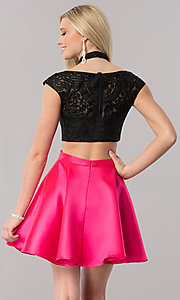 Image of two-piece embroidered-mesh-top homecoming dress. Style: TE-2212 Back Image