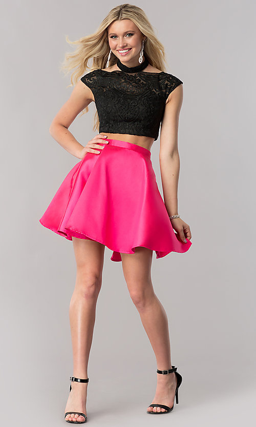Image of two-piece embroidered-mesh-top homecoming dress. Style: TE-2212 Detail Image 1