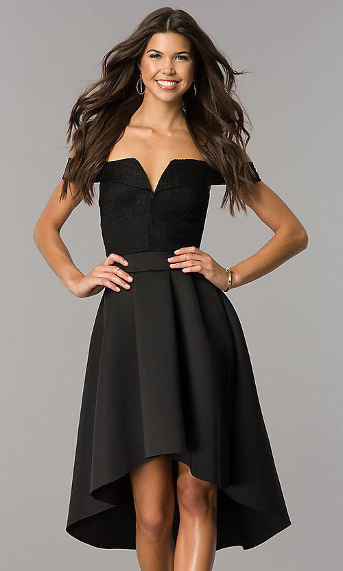 Image of strapless high-low wedding-guest dress with sleeves. Style: CL-45270 Front Image