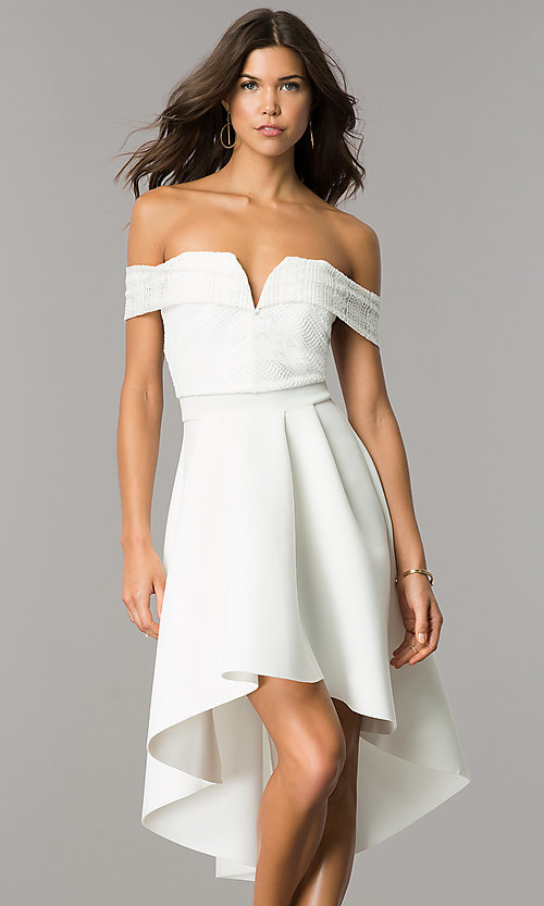 Image of strapless high-low wedding-guest dress with sleeves. Style: CL-45270 Detail Image 2